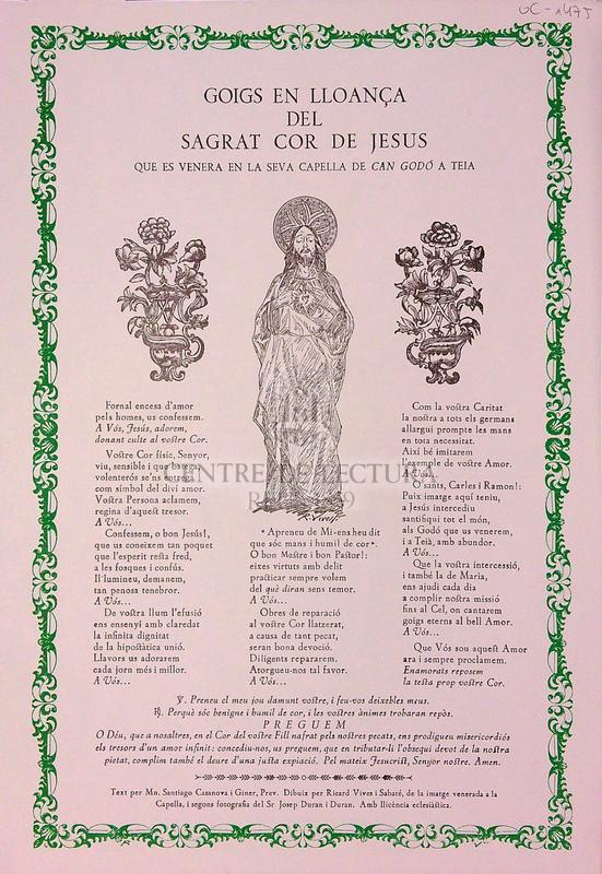 Goigs en lloança del Sagrat Cor de Jesús que es venera en la seva capella de Can Godó a Teià