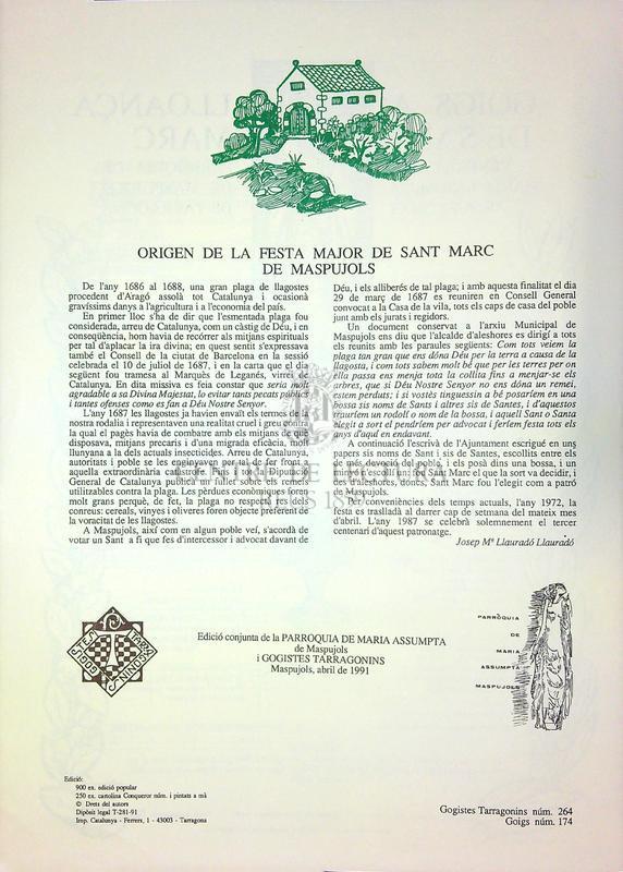 Goigs a lloança de Sant Marc venerat a la parròquia de Maria Assumpta de Maspujols, arquebisbat de Tarragona