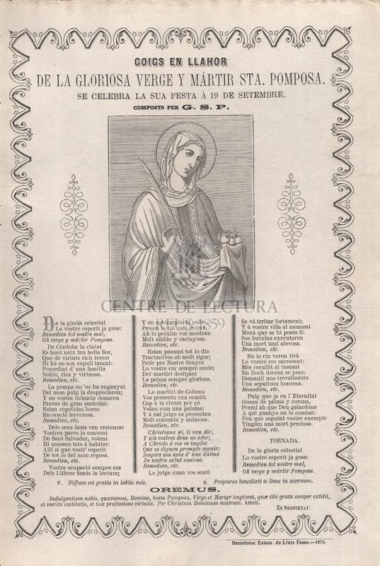 Goigs en llahor de la gloriosa verge y mártir Sta. Pomposa, se celebra la sua festa á 19 de setembre