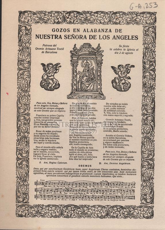 Gozos en alabanza de nuestra señora de los Angeles, Patrona del Gremio Artesano Textil de Barcelona Su fiesta el 2 de agosto