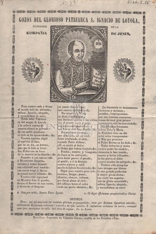 Gozos del glorioso patriarca S. Ignacio de Loyola. fundador de la Compañia de Jesus