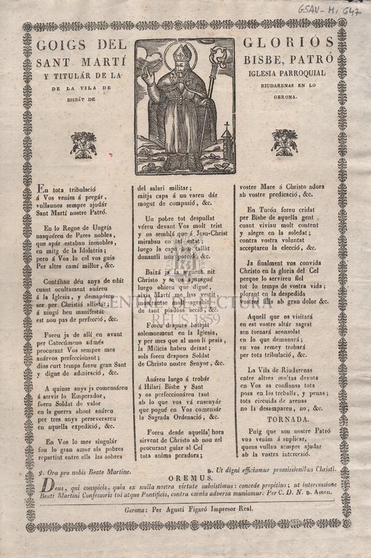 Goigs del gloriós Sant Martí Bisbe, Patró i Titulár de la Iglesia Parroquial de la Vila de Riudarenas en lo Bisbat de Gerona