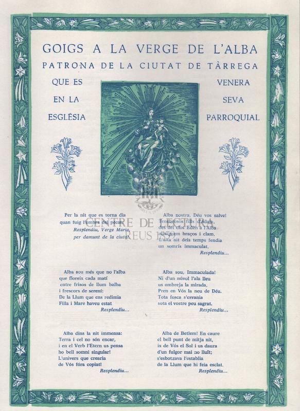 Goigs a la Verge de l'Alba patrona de la ciutat de Tàrrega que es venera en la seva església parroquial.