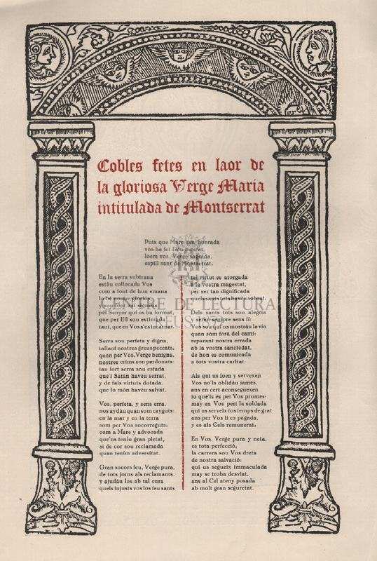 Coblas fetes en laor de la gloriosa Verge Maria intitulada de Montserrat