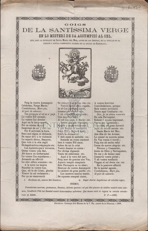 Goigs de la santíssima verge en lo misteri de sa assumpció al cel, que, baix la invocació de Santa María del Mar, antes de las Arenas, es la titular de sa insigne y antiga parroquial iglesia en la ciutat de Barcelona