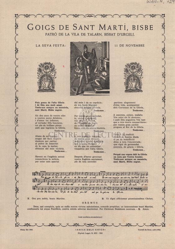 Goigs de Sant Martí, Bisbe. Patró de la vila de Talarn, Bisbat d'Urgell. La seva festa: 11 de novembre