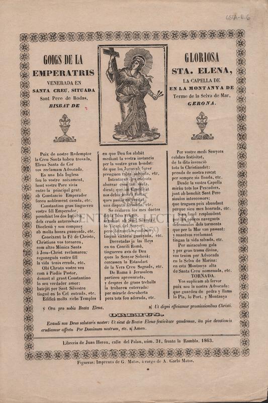 Goigs de la gloriosa emperatris Sta. Elena, venerada en la capella de Santa Creu, situada en la montaya de Sant Pere de Rodas, Terme de la Selva de Mar, bisbat de Gerona.