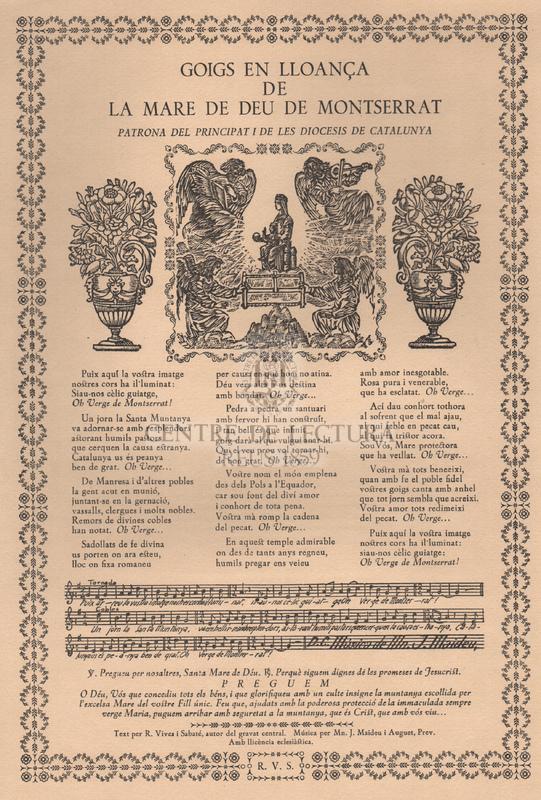 Goigs en lloança de la Mare de Déu de Montserrat, Patrona del Principat i diòcesis de Catalunya.