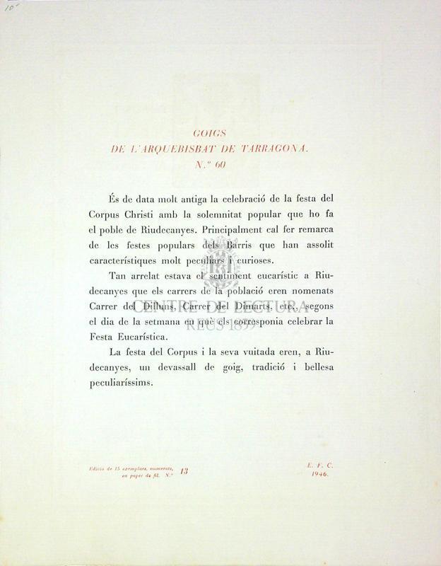 Goigs en alabança del santíssim sagrament que es canten a Riudecanyes Arquebisbat de Tarragona