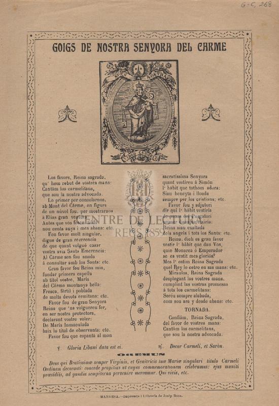 Goigs de Nostra Senyora del Carme.