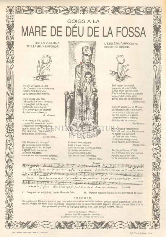 Goigs a la Mare de Déu de la Fossa que es venera a l'Església Parroquial d'Ullà (Baix Empordà), Bisbat de Girona