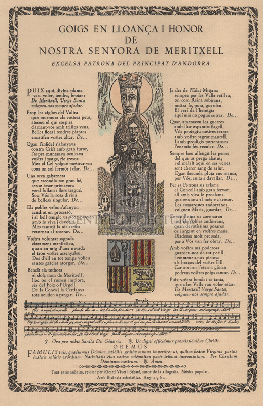 Goigs en lloança i honor de Nostra Senyora de Meritxell, excelsa Patrona del Principat d'Andorra.