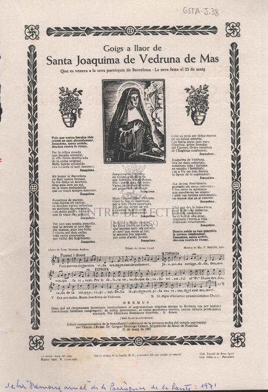 Goigs a llaor de Santa Joaquima de Vedruna de Mas. Que es venera a la seva parròquia de Barcelona- La seva festa el 22 de maig.