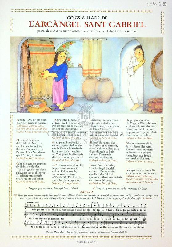 Goigs a llaor de l'Arcàngel Sant Gabriel, patró dels Amics dels Goigs. La seva festa és el dia 29 de setembre