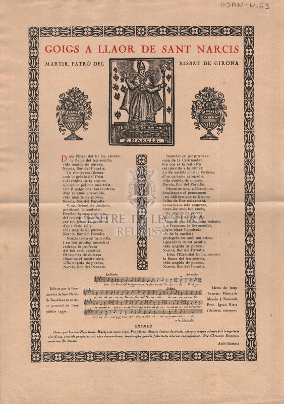 Goigs a llaor de Sant Narcís, martir, patró del Bisbat de Girona