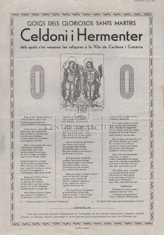 Goigs dels gloriosos sants i martirs Celdoni i Hermenter dels quals s'en veneren les relíquies a la Vila de Cardona i Comarca