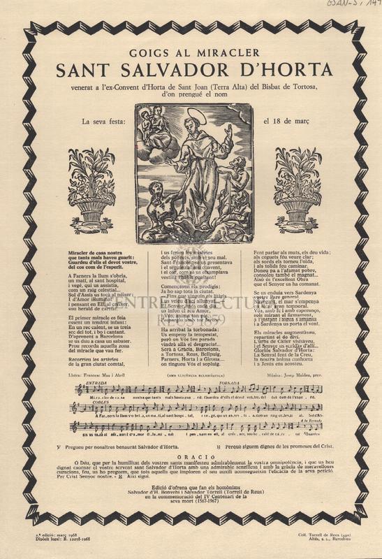 Goigs al Miracler Sant Salvador d'Horta, venerat a l'ex-Convent d'Horta de Sant Joan (Terra Alta) del Bisbat de Tortosa, d'on prengué el nom. La seva festa: el 18 de març