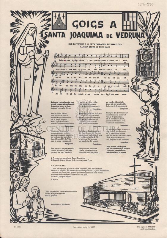 Goigs a Santa Joaquima de Vedruna que es venera a la seva parròquia de Barcelona. La seva festa el 22 de maig