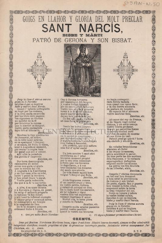 Goigs en llahor y gloria del molt preclar Sant Narcís, patró de Gerona y son Bisbat.