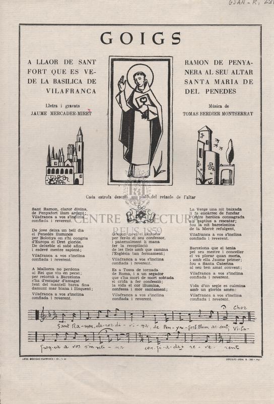 Goigs a llaor de Sant Ramon de Penyafort que es venera al seu altar de la Basílica de Santa Maria de Vilafranca del Penedés