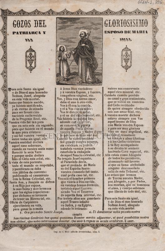 Gozos del gloriosisimo Patriarca y Esposo de Maria, San Jose