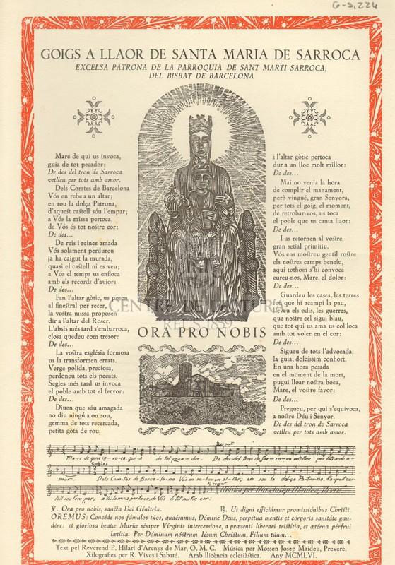 Goigs a llaor de Santa Maria de Sarroca excelsa patrona de la parroquia de Sant Marti Sarroca, del Bisbat de Barcelona