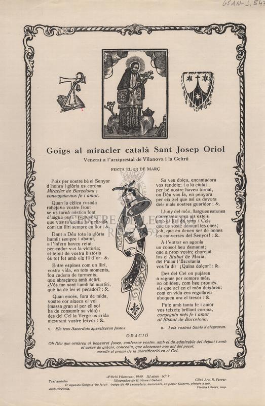 Goigs al miracler català Sant Josep Oriol. Venerat a l'arxiprestal de Vilanova i la Geltrú. Festa el 23 de Març