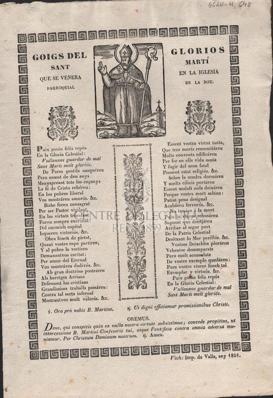 Goigs del glorios Sant Martí que se venera en la Iglesia parroquial de la Nou