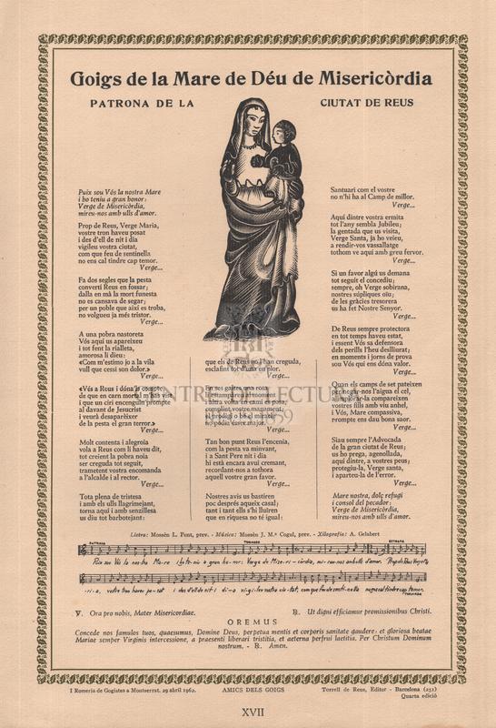 Goigs de la Mare de Mare de Déu de Misericòrdia patrona de la ciutat de Reus