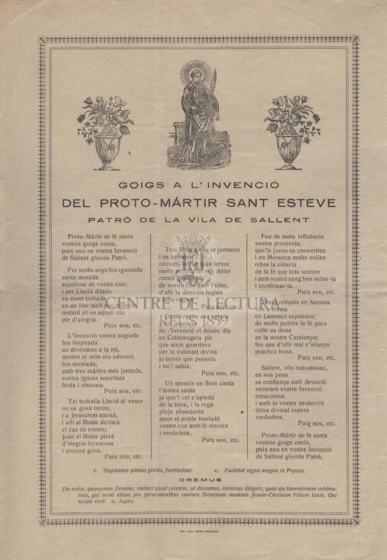 Goigs a l'invenció del proto-mártir Sant Esteve, patró de la vila de Sallent