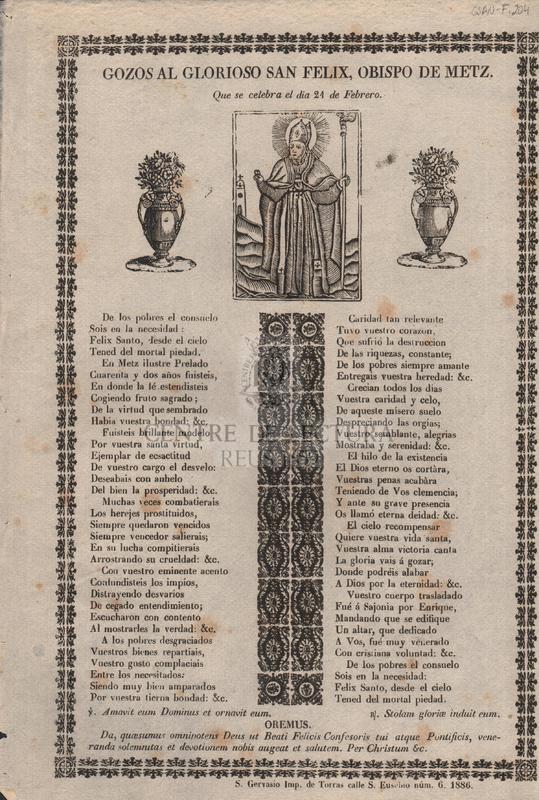 Gozos al glorioso San Felix, obispo de Metz, que se celebra el dia 21 de febrero