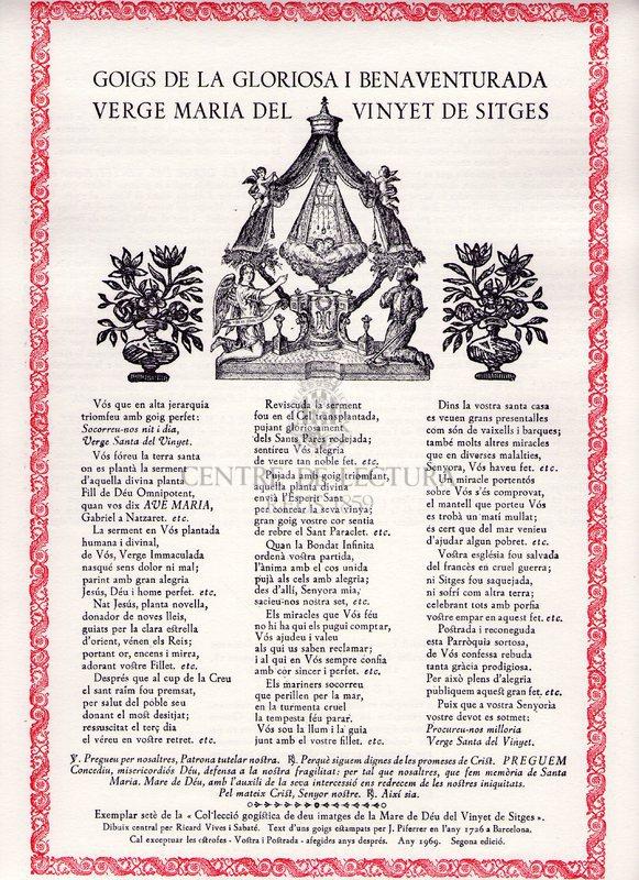 Goigs de la gloriosa i benaventurada Verge Maria del Venyet de Sitges