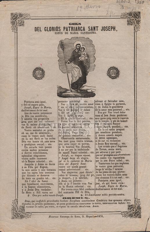 Goigs del gloriós Patriarca Sant Joseph, espós de Maria Santissima