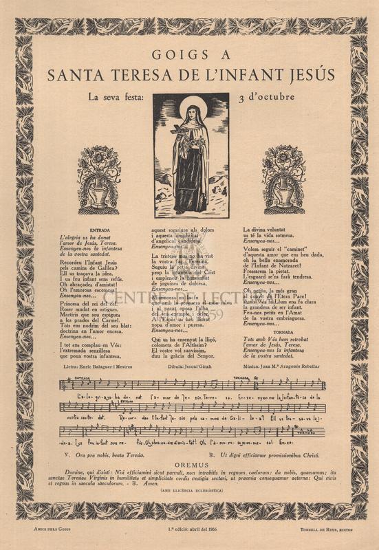 Goigs a Santa Teresa de l'infant Jesús. La seva festa: 3 octubre