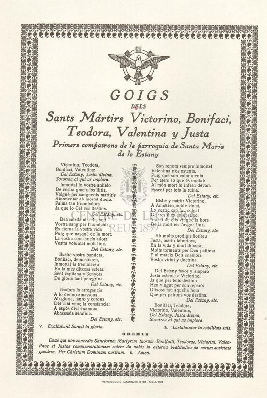 Goigs dels Sants Màrtirs Victorino, Bonifaci, Teodora, Valentina y Justa Primers compatrons de la parroquia de Santa Maria de lo Estany