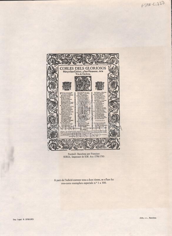Cobles dels gloriosos Martyrs Sant Celdoni, y Sant Hermenter, de la Vila de Cardona