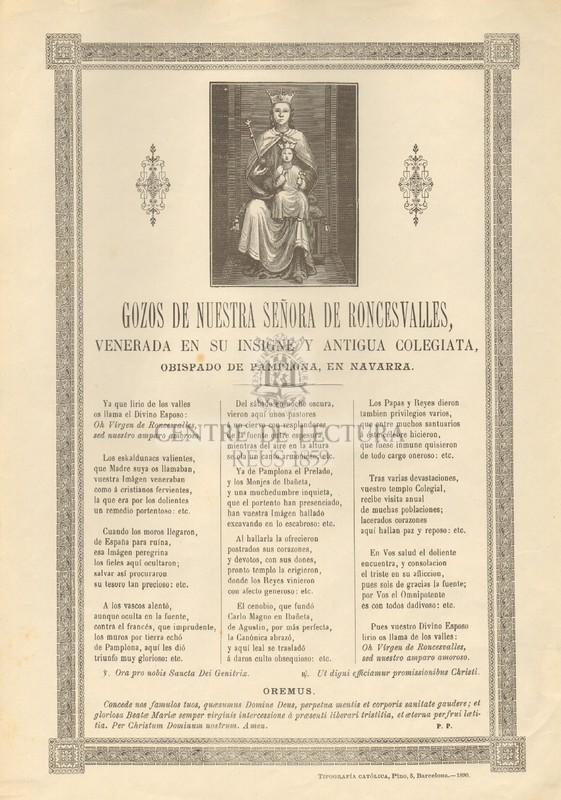 Gozos de Nuestra Señora de Roncesvalles, venerada en su insigne y antigua colegiata, Obispado de Pamplona, en Navarra