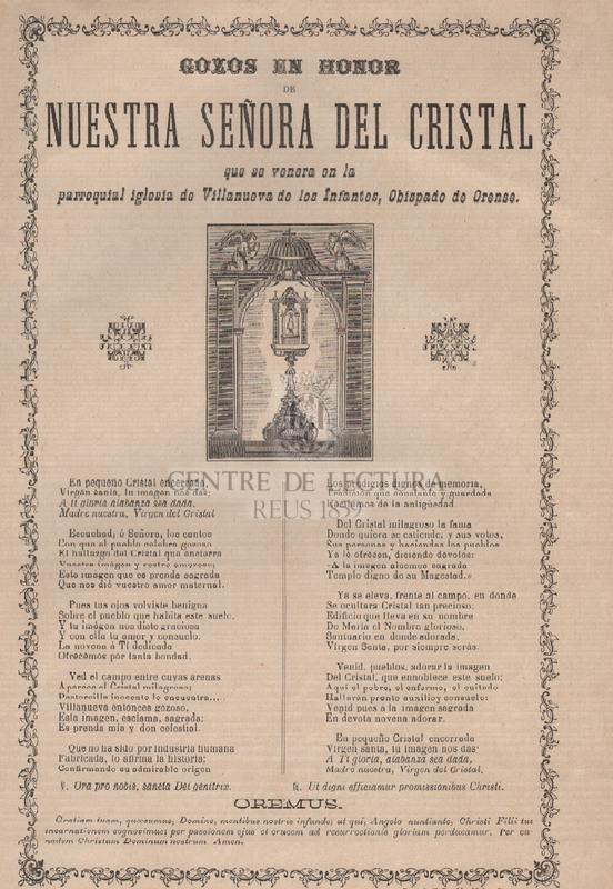 Gozos en honor de Nuestra Señora del Cristal que se venera en la parroquial de Villanueva de los Infantes, Obispado de Orense