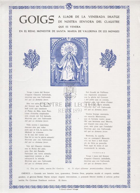 Goigs a llaor de la venerada imatge de Nostra Senyora del Claustre que es venera en el Reial Monestir de Santa Maria de Vallbona de les Monges