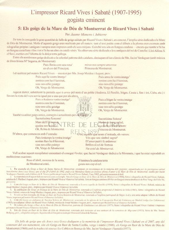 Goigs en llaor de la Mare de Déu de Montserrat