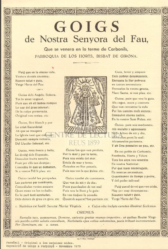 Goigs de Nostra Senyora del Fau, Que se venera en lo terme de Carbonils, parroquia de los Horts, bisbat de Girona