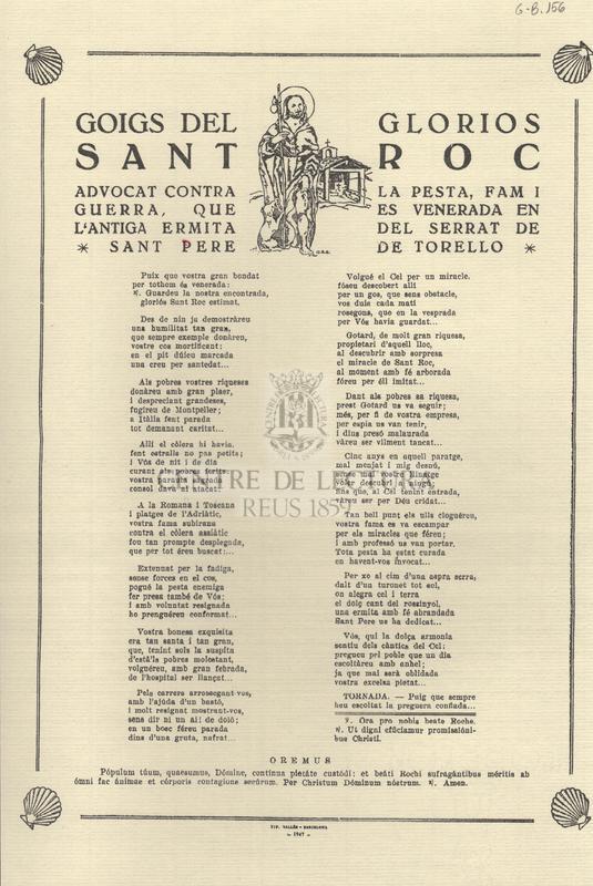 Goigs del gloriós Sant Roc, advocat contra la pesta, fam i guerra, que es venerada en l'antiga ermita del serrat de Sant Pere de Torelló