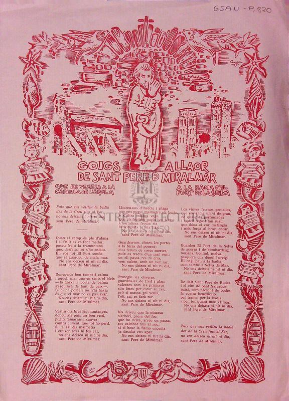Goigs a llaor de Sant Pere Miralmar que es venera a la Capella de l'Arola a la Badia Port de la Selva