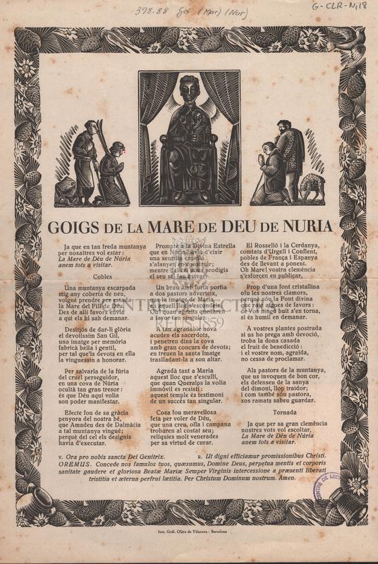 Goigs de la Mare de Deu de Nuria.