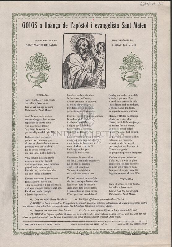 Goigs a lloança de l'apòstol i evangelista Sant Mateu, que es canten a la seva parròquia de Sant Mateu de Bages, bisbat de Vich