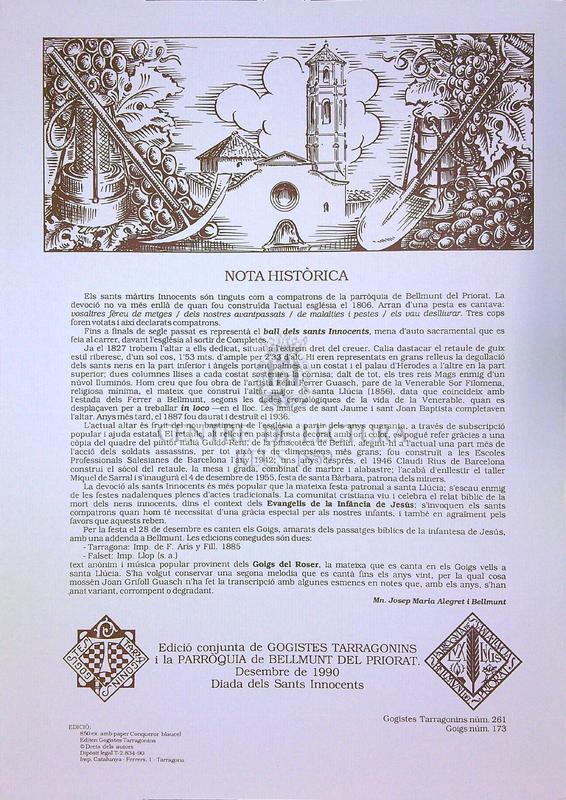 Goigs en honor dels Sants Martirs Innocents compatrons del poble de Bellmunt provincia y arquebisbat de Tarragona