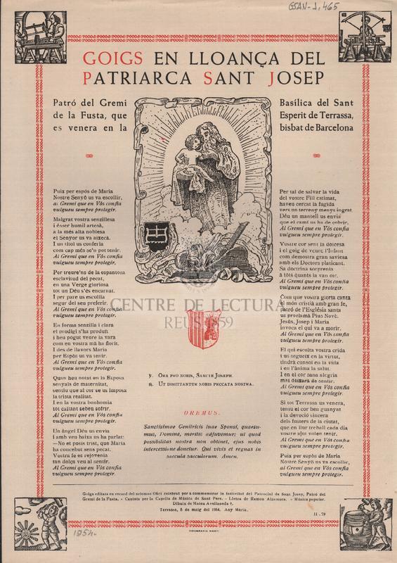 Goigs en lloança del Patriarca Sant Josep. Patró del Gremi de la Fusta, que es venera en la Basílica del Sant Esperit de Terrassa, bisbat de Barcelona