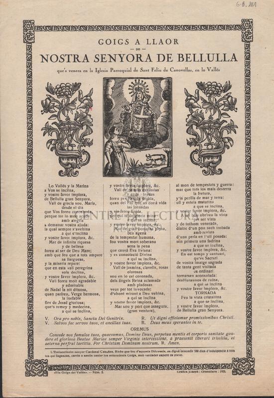 Goigs a llaor de Nostra Senyora de Bellulla que's venera en la iglesia parroquial de Sant Feliu de Canovellas, en lo Vallés