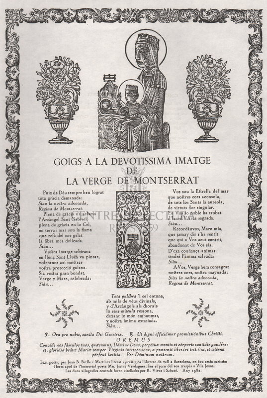 Goigs a la devotíssima imatge de la Verge de Montserrat.