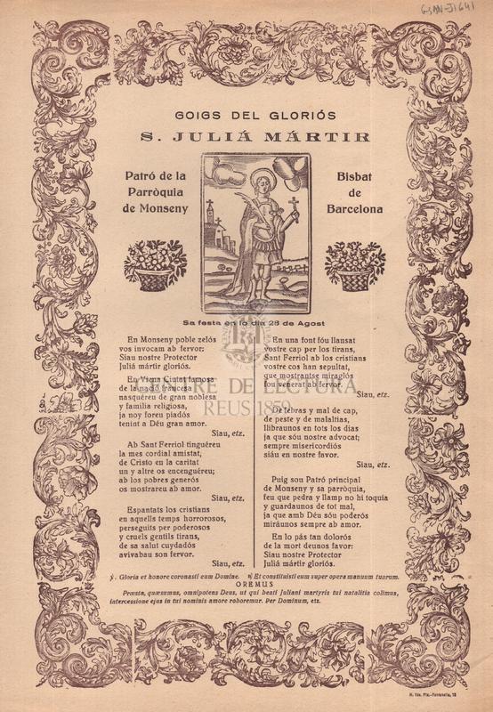 Goigs del gloriós sant Juliá mártir, Patró de la Parròquia de Montseny, Bisbat de Barcelona, sa festa en lo dia 28 de Agost